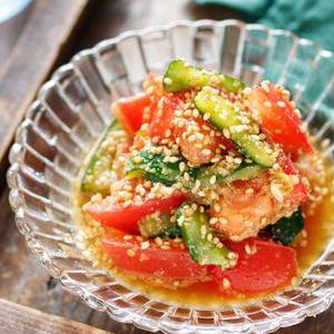 きゅうりとトマトで彩りよく♪夏に食べたいひんやりサラダレシピ