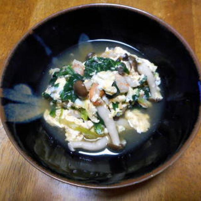 ほうれん草と海老の卵とじ煮