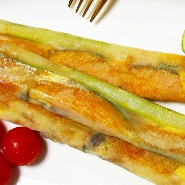 焼き春巻きスティック2種  かぼちゃとアスパラとしめじとチーズ  チーズとアスパラと大葉