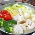 濃厚!!鶏チーズロールのにんにく白湯鍋