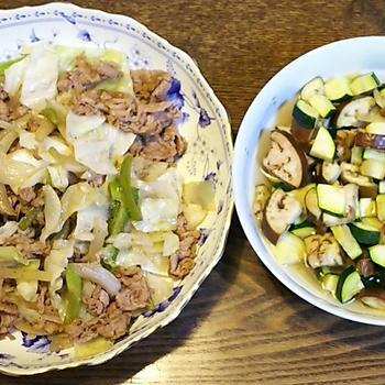 ナスとズッキーニの煮浸し~出汁にひたせば皆で和食~