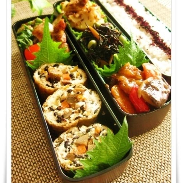 ひじき煮と豆腐で♪変わり信田巻きのお弁当(レシピ付き)