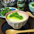 菜花とあさりの茶碗蒸しにオリーブオイル