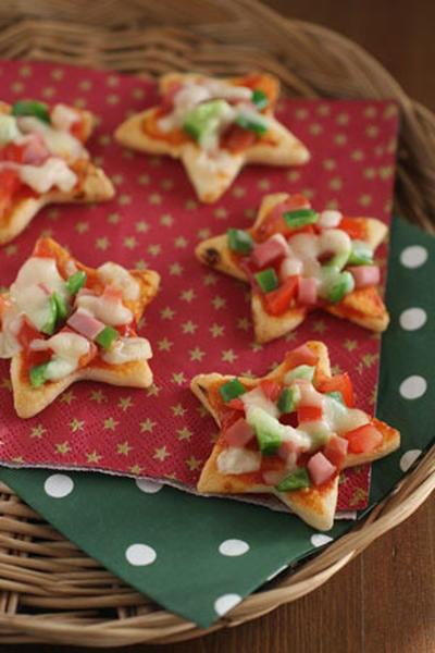 クリスマスのおせんべいピザ