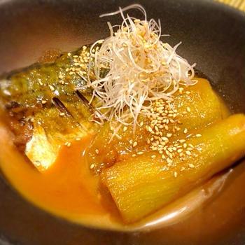 鯖(さば)と茄子の胡麻煮付け