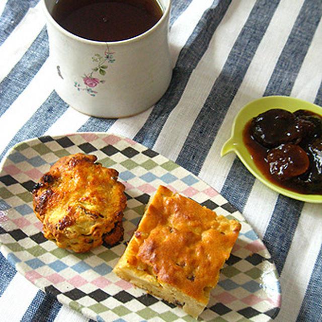 今日の朝ごはん。林檎ケーキと甘酒スコーン。