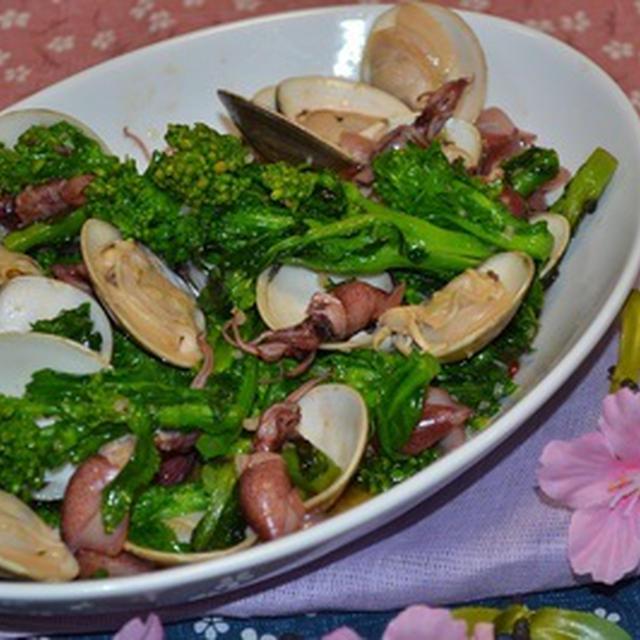 菜の花と蛤の♥春のペペロンチーノ風炒め