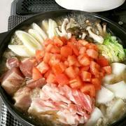 「よろこばレシピ」にレシピ投稿しました★美味スープ☆肉と野菜のトマトにんにく鍋♪