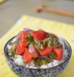 夏バテぎみに。ヘルシートマト鮪めかぶ丼!そして缶詰レシピ中華部門受賞しました(^^)