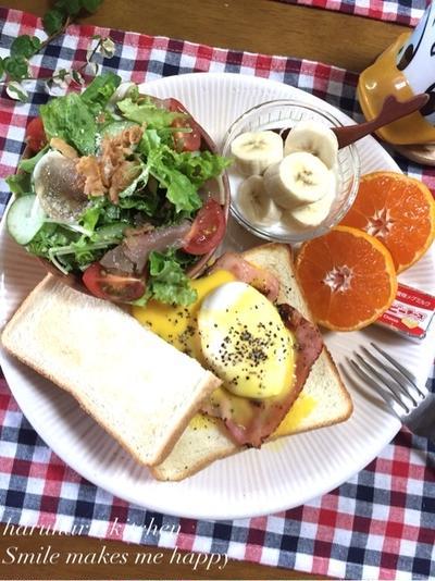 簡単ポーチドエッグ♪食パンdeエッグベネディクトな朝ごはん♡高校生弁当♪