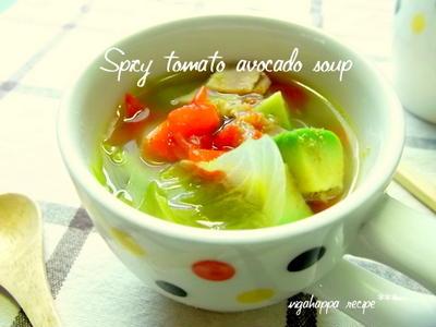 ≪簡単*10分でトマトとアボカドのスパイシースープ≫