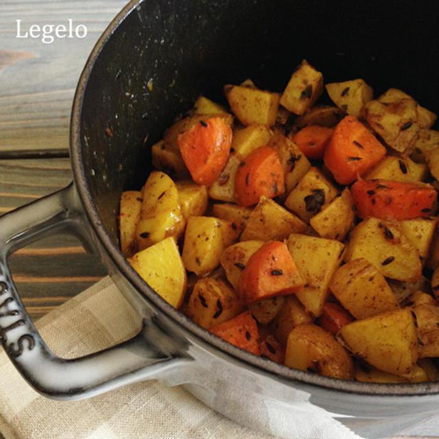 ストウブ鍋レシピ お肉なし&スープの素いらず♪ ジャガイモとニンジンのサブジ