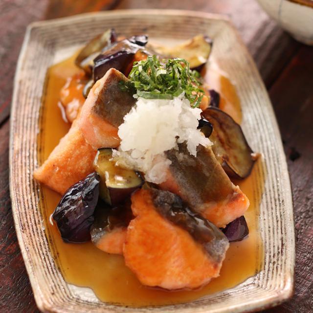 鮭となすのみぞれあん【#簡単 #時短 #節約 #男子もお子様も喜ぶ #胃腸にやさしい #魚 #主菜】