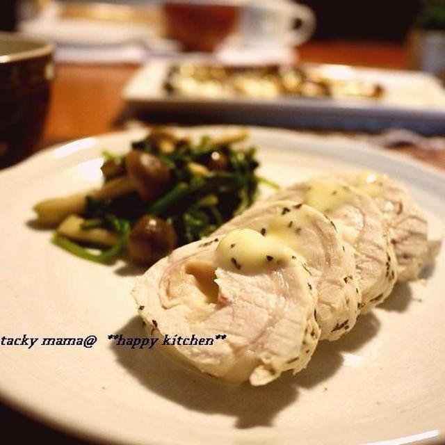 ルクエで♪鶏むね肉とチーズでバジルロールチキン