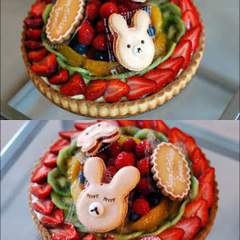 Birthday fruit tart for a little girl