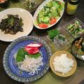 夕食は和食で・・旬の野菜でフレッシュサラダと手作りドレッシング