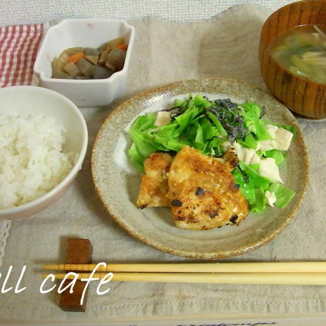 キャベツと豆腐の塩昆布蒸し