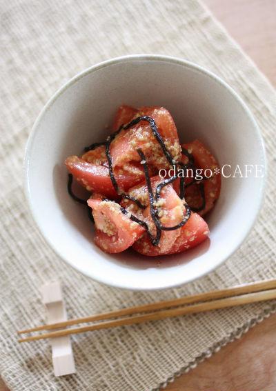 1行レシピ♪トマトの塩昆布ごま和え