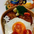 月見ハンバーグ弁当と貼るだけフィルム食べられるアート by とまとママさん