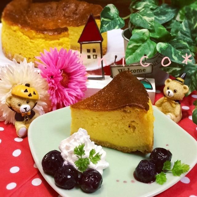 *ミキサーでガーっ!かぼちゃのベイクドチーズケーキ♡♡*