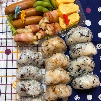 20170815三種のおにぎり弁当【夫婦+幼児二人】