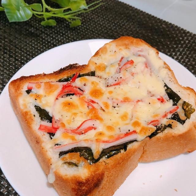 簡単!のせて焼くだけ!海苔が合う!カニカマ海苔チーズトースト