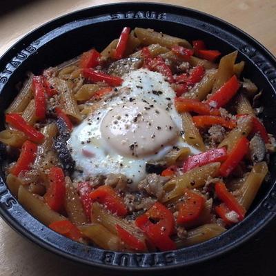 茄子肉味噌ペンネの手抜きフィデウア