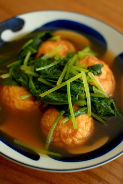 魚河岸揚げと小松菜の煮びたし