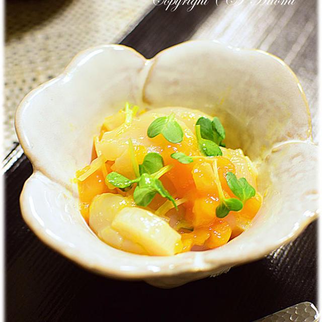 話題の冷凍卵!帆立と冷凍卵の和え物