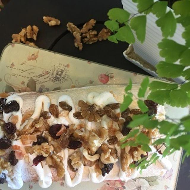 ノンオイル・シフォン生地でたっぷり胡桃のロールケーキ~♪♪
