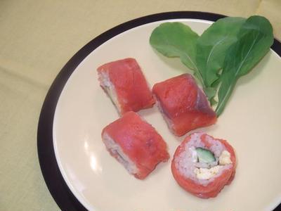ポン酢 de スモークサーモンの巻き寿司