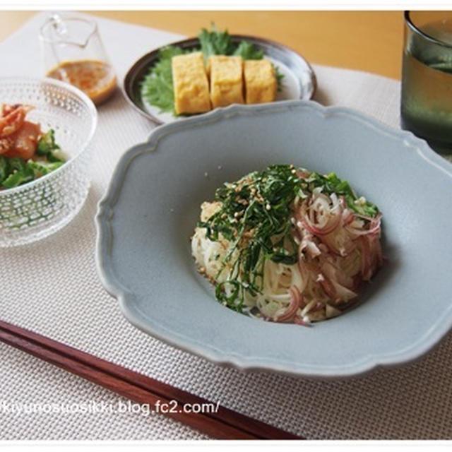 和食器×北欧食器で2種の素麺ランチ。