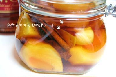 フルーツブランデー☆*゚柿とシナモンの果実酒