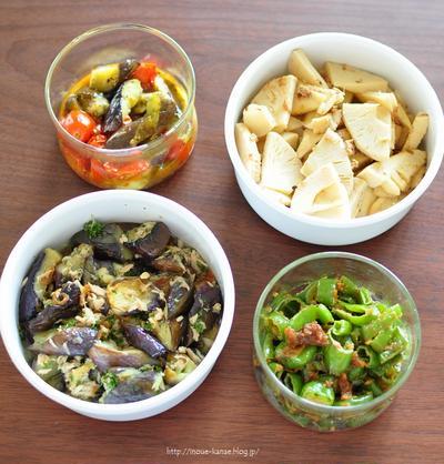《簡単!作っておけば便利な日持ちおかず:ナスとツナのマリネ・レンチンラタトゥイユ・タケノコとお揚げのおかか煮・万願寺唐辛子の甘味噌》と昨日の置き晩ごはん