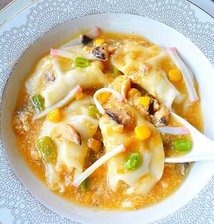 身体ぽかぽかあったまる〜っ!  とろーり五目スープ水餃子  #減塩しょうゆ #鮮度の一滴