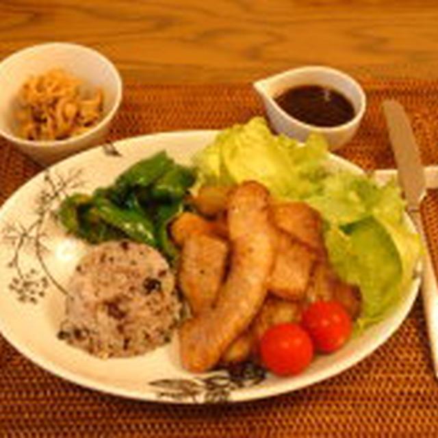 9/17 夕食:イベリコ豚のソテーマスタードソース+おやつ:半分だけよ♪