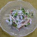 イカと香味野菜の梅風味和え、鶏むね肉のたたき
