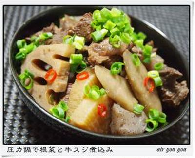 ✿圧力鍋で根菜と牛スジ煮込み✿
