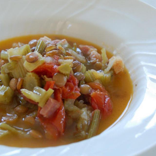 セロリとレンズ豆のスープ