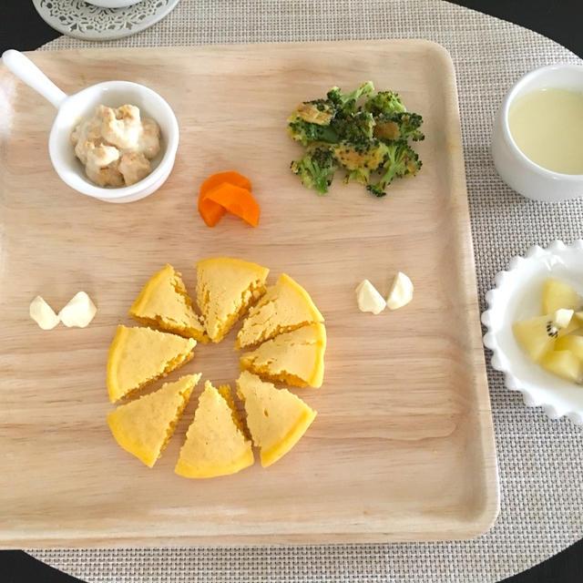 離乳食初期〜OK!  かぼちゃフレークと粉ミルクの簡単スープ
