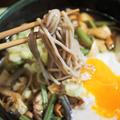 ■夜麺【山菜入り 月見とろろけんちん蕎麦】
