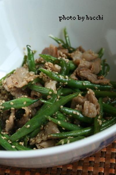 インゲンと豚肉の甘辛炒め