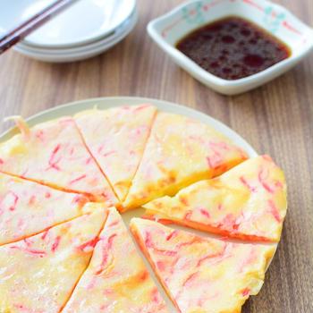 タレは混ぜるだけ!チーズ入り紅生姜チヂミのレシピ