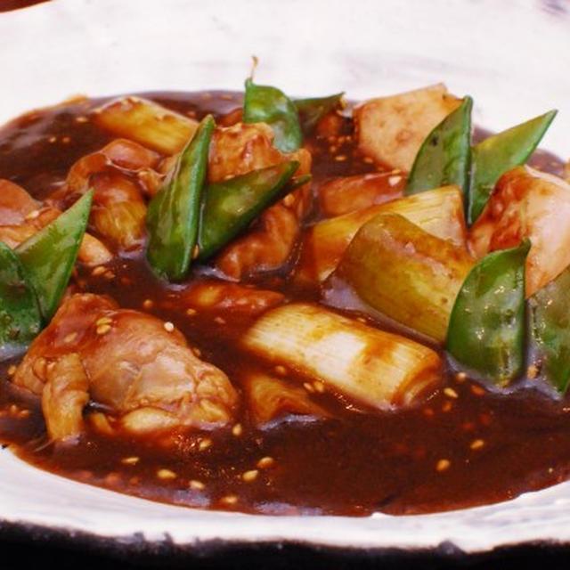 鶏もも肉と白葱の味噌煮