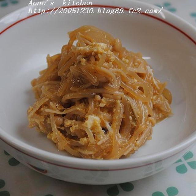ローカロリーでおいしい!しらたき・えのき・玉葱のすき焼き風卵とじ☆