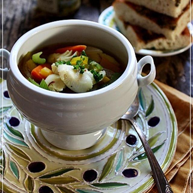片付けで疲れた体にタラの香味スープ