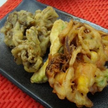 かき揚げと野菜天ぷら!
