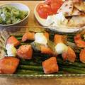 ナンとモッツァレラチーズ ~  アスパラガスと塩鮭のグリル