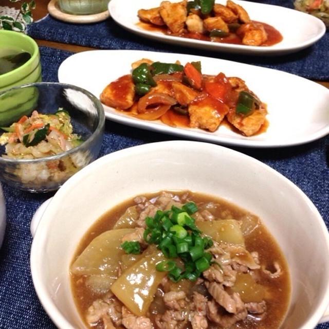 中華3品です♡麻婆大根・野菜たっぷり鶏チリ・白菜とツナの中華和えだよ〜