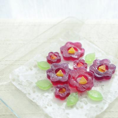 赤紫蘇ジュースの琥珀糖 - 椿